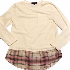 Layer Look Burnout Sweater Plaid Top Size XL